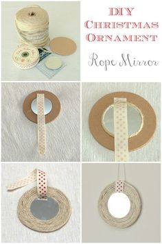 DIY Christmas Ornament - Rope Mirror by Max and Me (Lovely for beachy or nautical theme)