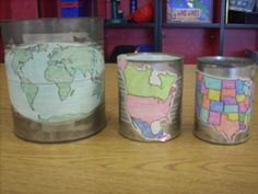 "Map Nesting Cans Activity! ""My town is inside my state, which is inside the US, which is inside..."" etc."