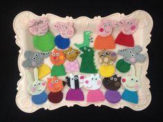 Peppa Pig Felt Finger Puppets Family & Friends Gift Set by CraftyMamiPig on CraftyMamiPig.etsy.com - Peppapig, George pig, daddy pig, mummy pig, teddy bear, mr dinosaur, Suzy sheep, Rebecca rabbit, candy cat, Zoe zebra, Emily elephant, Pedro pony, Danny dog, Freddy fox, Richard rabbit, Edmond elephant