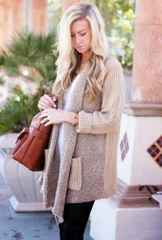 Sheinside Women's Khaki Long Sleeve Pockets Loose Cardigan Sweater at Amazon Women's Clothing store: