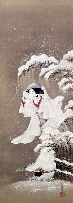A Beauty In Snow by Koryusai