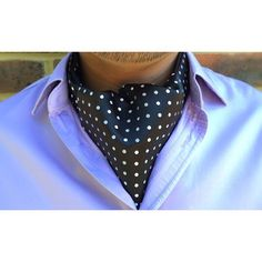 AXEL - Coal Black with Pure White Polka Dots Woven Silk Cravat http://www.cravat-club.com/collections/our-woven-collection/products/axel-silk-ascot-tie-cravat #cravat #cravats #ascots #ascot...