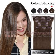 20 Inches 8pcs Clip-in Human Hair Extensions Straight (#4 Chocolate Brown)