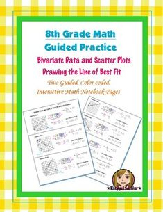 This is two 8th Grade Common Core Guided Practice, color-coded notebook pages for the Interactive Math Notebook on the concept of Scatter Plots and Drawing and Writing the Equation for the the Line of Best Fit.
