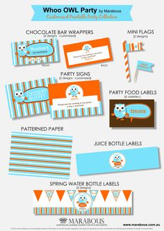 Giggle & Hoot inspired - Party Printable Collection by Marabous Owl Themed Parties, Owl Parties, Happy Birthday Parties, Happy Party, Birthday Ideas, Party Food Buffet, Party Food Labels, Party Desserts, Party Printables