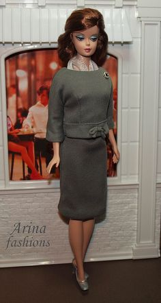 Jacqueline Kennedy. The gray wool jersey dress by arina_fashions, via Flickr