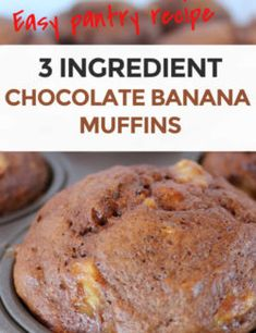 Only three ingredients! A quick, easy, moist and delicious chocolate banana muffin recipe. Perfect so you can use up your old bananas! Chocolate Banana Muffins, Chocolate Cake Mixes, Delicious Chocolate, Banana Bread, Chocolate Chocolate, Breakfast Recipes, Dessert Recipes, Ww Desserts, Dessert Ideas