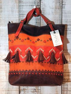 Orange tote bag leather embroidered purse everyday by Percibal, $250.00