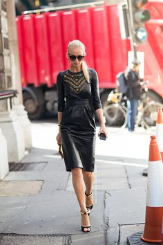leather dress w/ gold accents #StreetStyle