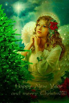 Merry Christmas & Happy New Year! Christmas Night, Merry Christmas And Happy New Year, Christmas Angels, Christmas Colors, Christmas Art, All Things Christmas, Christmas Decorations, Vintage Christmas Cards, Christmas Images