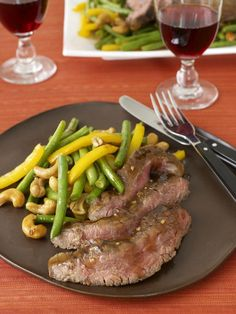 This flank steak (the traditional steak of London Broil) is marinated ...