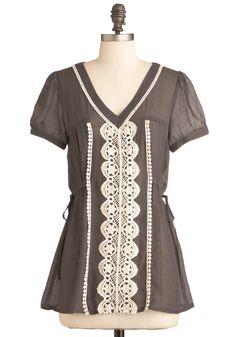 tooooo cute. modcloth!  Blouse in the Country Top | Mod Retro Vintage Short Sleeve Shirts | ModCloth.com