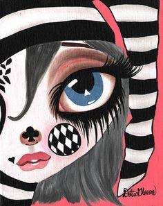 Clowning Around by Dottie Gleason Gothic Harlequin Canvas Art Print – moodswingsonthenet