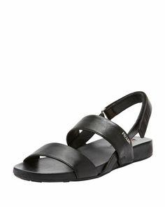 Napa Double-Banded Flat Sandal, Black by Prada at Bergdorf Goodman.