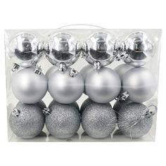 Pack 24 Noir Mix 60 mm Incassable Boules Décorations Pour Arbres De Noël à thème