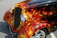 Custom Flames On Cars   1934 Ford Coupe Street Rod Custom Flame Detail