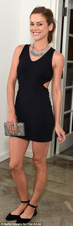 9021-wow: Jessica Stroup looked fabulous in a navy coloured mini dress with black flats...