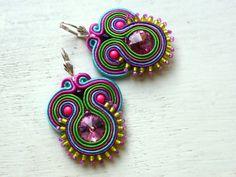 Soutache earrings Colorful Swarovski Boho Glamour! de Soutache4You