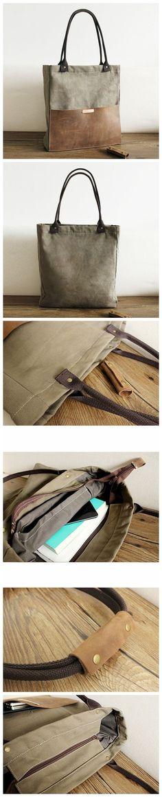 Designer Canvas Tote Bag Handcrafted Canvas Leather Shopper Bag Handbag 14051 #diyhandbag