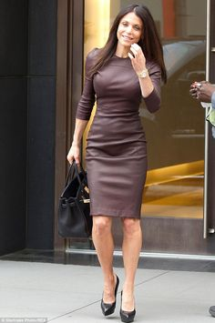 Don't I look good! Bethenny Frankel squeezes into a tight leather dress as she leaves a meeting on Monday ahead of recording her talk show in New York
