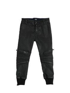 armani junior - niña - pantalones - pantalones biker de algodón