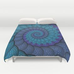 Blue Peacock Fractal Pattern DUVET COVER
