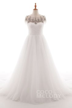 A-Line+Court+Train+Tulle+and+Lace+Wedding+Dress+LD4741