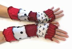Upcycled Fingerless Gloves Red Black White by malibuquilts on Etsy