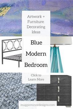 How to create a blue and gray modern bedroom with bold artwork   loft apartment bedroom design ideas   turquoise blue green table lamp   purple blue green yellow abstract canvas print   oversized large artwork   contemporary residential interior design ideas   blue jute rug   complete room design concepts   maggie minor designs   contemporary ceramic organic shelf sculpture in room design