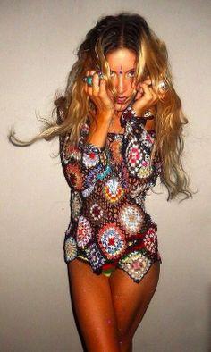 Rat and Boa Crochet Diamond Jumper, Boho, festival style Boho Gypsy, Gypsy Style, Hippie Style, Bohemian Style, My Style, Boho Chic, Hippie Chic, Rat And Boa, Moda Crochet