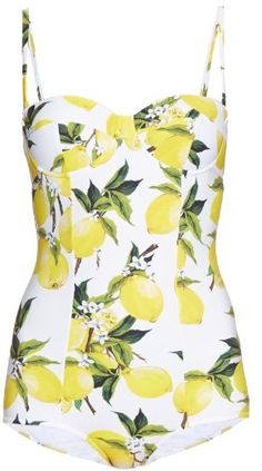 DOLCE & GABBANA Lemon-print balconette swimsuit