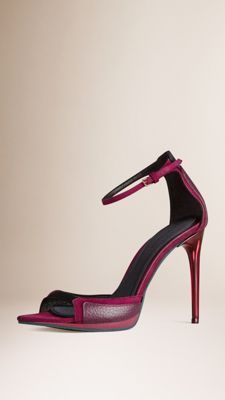 Leather and Suede Platform Sandals