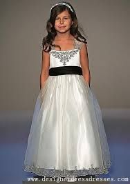 flower girl dress white and black - Google Search
