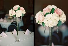 Rent a tower vase for a tall centerpiece.  Vintage Blush Pink Oklahoma Wedding