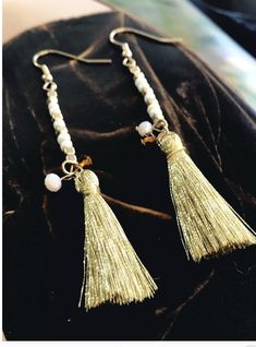 "Delicate Fish hook back gold beaded tassel earrings. Lead and nickel compliant         Size: 0.5"" x 3""            