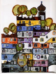 Grade Line Drawings: Friedensreich Hundertwasser Hundertwasser Art, Friedensreich Hundertwasser, Arte Popular, Graffiti Art, Kitsch, Art Abstrait, Art Graphique, Klimt, Art Plastique