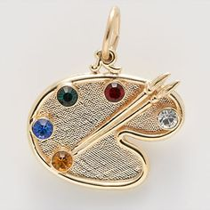 Artist Palette Charm $78   You may select 5 Birthstones for this special charm.  #GoldCharm  #CharmnJewelry  #RembrandtCharms