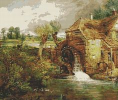 English Countryside Instant PDF Digital Download Counted Cross Stitch Chart, John Constable's Mill at Gillingham Dorset Cross Stitch Pattern