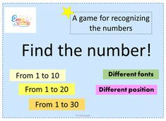 Number Recognition Game, Number Sense Activities #mathgames #mathworksheets #numbersense #numbersfrom1to30 Number Sense Activities, Math Games, Teaching Kindergarten, Teaching Resources, Number Recognition Games, Memory Games, Elementary Education, Math Worksheets, Mathematics