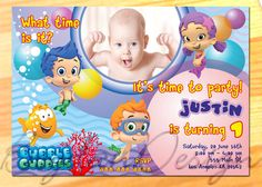 Bubble Guppies Invitation with Photo  Bubble by BogdanDesign, $7.99