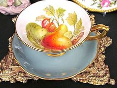 HAMMERSLEY-TEA-CUP-AND-SAUCER-SAGE-GREEN-FRUITS-PATTERN-TEACUP-WIDE-MOUTH-GOLD
