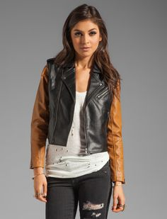 REVOLVE Moto jacket with detachable sleeves