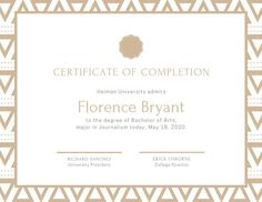 Use this customizable Ornate Pattern University Diploma Certificate template and find more professional designs from Canva. University Diploma, Bachelor Of Arts, Certificate Of Completion, Certificate Templates, School Design, Place Card Holders, Pattern, Patterns, Model