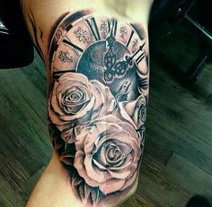 Awesome clock and roses tattoo