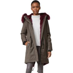 Mackage Rena Twill Parka (108,200 INR) ❤ liked on Polyvore featuring outerwear, coats, twill parka, parka coat, mackage, brown parka and brown coat
