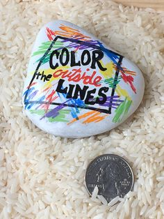 Colorful painted rocks with designs, names, inspirational words, or scripture verses painted on them. Many patterns, colors, and sizes available. Tuck one into a plant as a get well gift, or commemorate a special occasion, vacation, or event with a memory stone. The coin in the listing