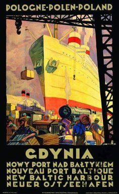 Gdynia Plakat Art Deco Gdansk Sopot Port Prezent