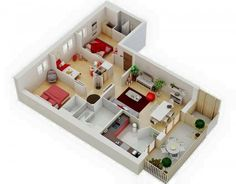 Three bedroom house apartment floor plans - home building plans 3d House Plans, House Layout Plans, Modern House Plans, House Layouts, Apartment Floor Plans, Bedroom Floor Plans, Home Design Plans, Plan Design, Design Ideas