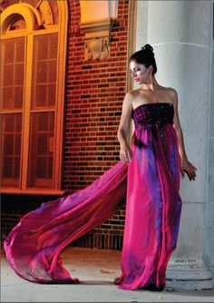 Couture Editoral 2013 j-na with silk sheer red gown and Swarovski Crystal Bodice.
