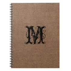 Rustic Burlap Black Monogram - Shabby Chic Notebook